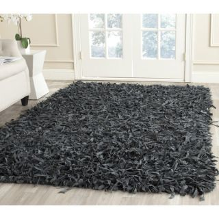 Safavieh Handmade Leather Shag Grey Leather Rug (5 x 8)
