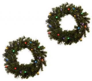 Bethlehem Lights Solutions Set of Two 16 Wreaths w/Timer —