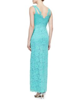 Nicole Miller Sleeveless Lace Gown, Aqua