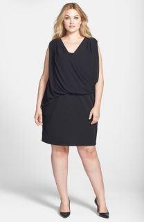 DKNYC Chiffon Overlay Dress (Plus Size)