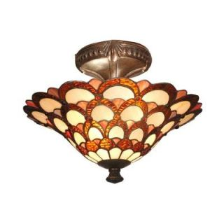 Dale Tiffany Peacock 2 Light Fieldstone Semi Flush Mount Light TH70118