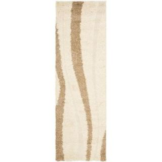 Safavieh Willow Shag Cream/Dark Brown 2 ft. 3 in. x 7 ft. Runner SG451 1128 27