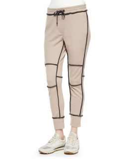 Brunello Cucinelli Cashmere Contrast Piped Sweatpants, Peanut