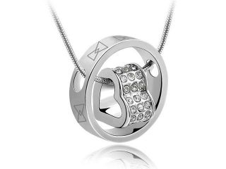 Ship From USA Yours Valentines Day's Gift Charming Heart in Circle Pendant Austria Crystal 18k White Gold Plated Necklace