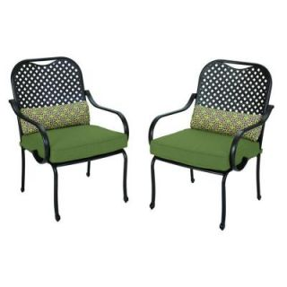 Hampton Bay Fall River Patio Dining Chair with Moss Cushion (2 Pack) DY11034 D 2