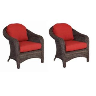 Hampton Bay Walnut Creek Patio Club Chair with Red Cushions (2 Pack) DISCONTINUED FRS62265 Red