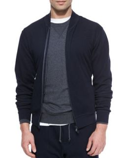 Brunello Cucinelli Knit Bomber Sweater Jacket, Navy