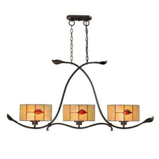 Dale Tiffany Fantom Leaf 3 Light Rustic Bronze Hanging Fixture TH12451