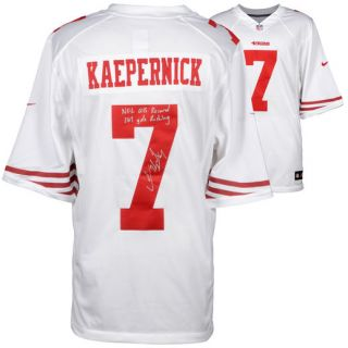 Fanatics Authentic Colin Kaepernick San Francisco 49ers Autographed White Nike Jersey with NFL QB Record 181 Yds Rushing Inscription