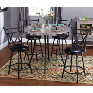 Jaxx Collection 5 Piece Adjustable Height Dining Set, Black