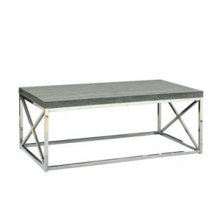 Monarch Specialties Reclaimed Look/Chrome Metal Cocktail Table in Dark Taupe I 3258