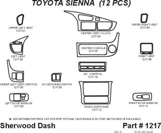 2001, 2002, 2003 Toyota Sienna Wood Dash Kits   Sherwood Innovations 1217 N50   Sherwood Innovations Dash Kits