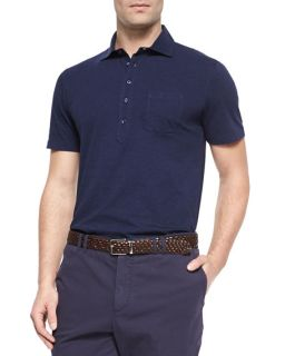 Brunello Cucinelli Five Button Jersey Knit Polo, Ink