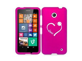 Nokia Lumia 630 635 Snap On 2 Piece Rubber Hard Case Cover Love Heart Baseball Softball (Hot Pink)