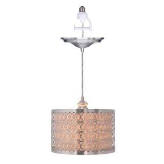 Worth Home Products 1 Light Brushed Nickel Instant Pendant Conversion Kit and Overlay with Linen Drum Shade PBN 6159 0030