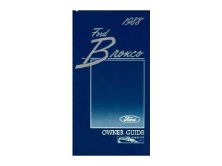 1988 Ford Bronco Owners Manual User Guide Reference Operator Book Fuses Fluids