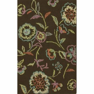 nuLOOM Machine tufted Contemporary Floral Dark Brown Rug (8 x 11