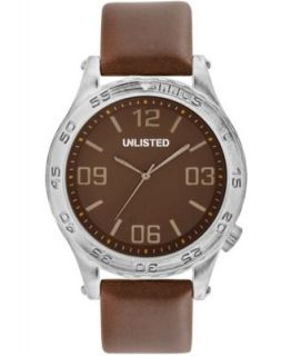 Unlisted Watch, Mens Brown Synthetic Leather Strap 48mm UL1266