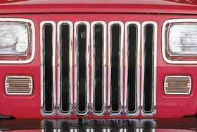 1987 1995 Jeep Wrangler Bar Billet Grilles   Rugged Ridge 11306.01   Rugged Ridge Grille Inserts