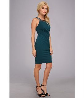 laundry by shelli segal sleeveless jersey dress w beaded neckline