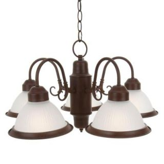 Commercial Electric Halophane 5 Light Nutmeg Chandelier WB0390