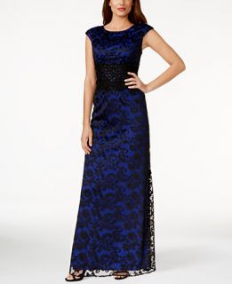 Alex Evenings Petite Embroidered Lace Gown   Dresses   Women