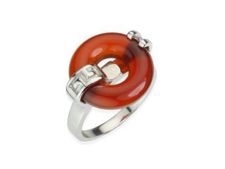 Good Luck Red Jade Platinum Overlay Sterling Silver Ring (Size 6)