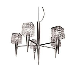 BAZZ Glam Sephora Collection 5 Light Hanging Chrome Pendant Chandelier LU3019DC