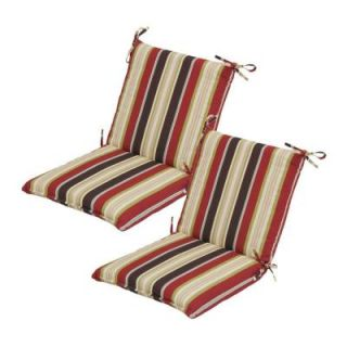 Hampton Bay Majestic Stripe Mid Back Outdoor Chair Cushion (2 Pack) 7410 02000200