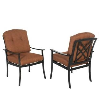 Hampton Bay Cedarvale Patio Dining Chair with Nutmeg Cushion (2 Pack) 133 008 DC2