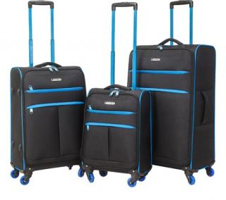 TPRC Transcend 3 Piece Two Toned Spinner Luggage Set   Black/Blue
