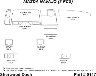 1993, 1994 Ford Explorer Wood Dash Kits   Sherwood Innovations 0147 N50   Sherwood Innovations Dash Kits