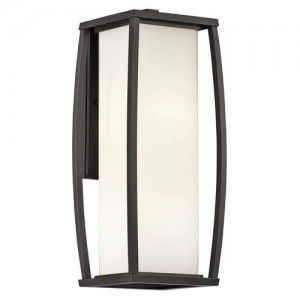Kichler 49339AZ Outdoor Light, Transitional Wall Lantern 2 Light Fixture   Architectural Bronze