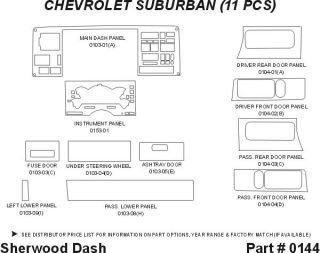 1992, 1993, 1994 Chevy Suburban Wood Dash Kits   Sherwood Innovations 0144 CF   Sherwood Innovations Dash Kits