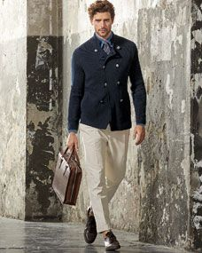 Brunello Cucinelli Double Breasted Sweater, Long Sleeve Button Down Shirt & Single Pleated Pants