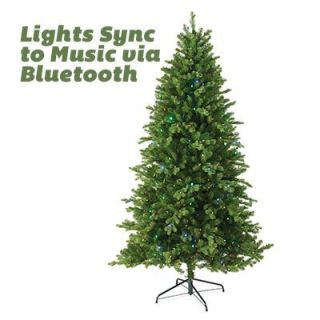 Feel Real Artificial Pre Lit Christmas Tree, Bluetooth Enabled, 550 LED Lights, 7.5 Ft. Model# TPES3 D07T 75M