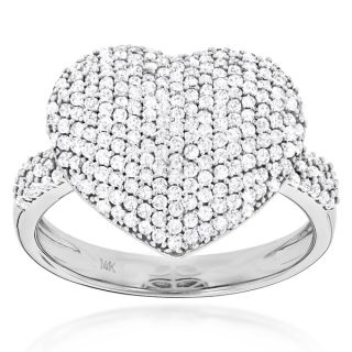 Luxurman 14k Gold 1ct TDW Diamond Pave Heart Ring (G H, SI1 SI2