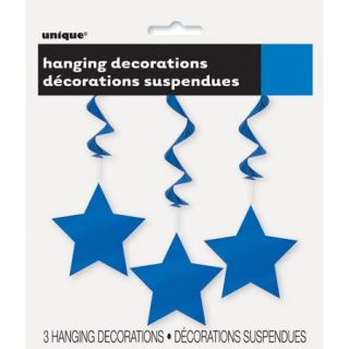 Royal Blue Star Hanging Decorations, 3pk