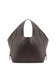 TOM FORD Jennifer Side Zip Leather Hobo Bag, Dark Brown