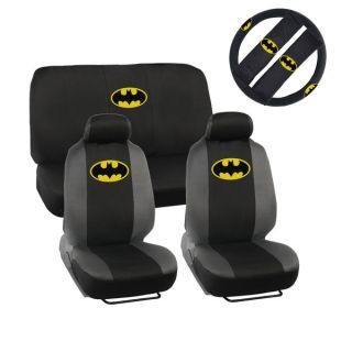 BDK Batman Car Seat Covers   Full Set Plus Steering Wheel Cover and