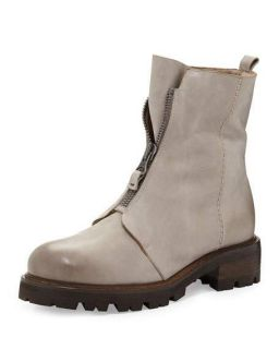Henry Beguelin Zip Front Mid Calf Fur Lined Boot, Stone