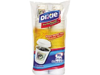 Dixie 5310COMBO600 10 oz, 50 Cups/White Lids per Pack Combo Bag Paper Hot Cups