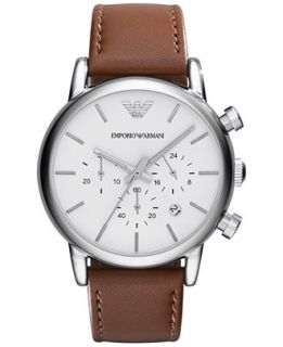 Emporio Armani Mens Chronograph Brown Leather Strap Watch 41mm AR1846