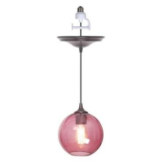 Worth Home Products 1 Light Brushed Bronze Instant Pendant Light Conversion Kit with Plumb Glass Globe Shade DISCONTINUED PBN 3528 1000