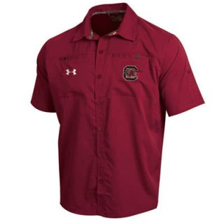 Under Armour South Carolina Gamecocks Garnet Football Sideline Contender Short sleeve Button Down Shirt