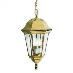 Kichler 9889PB Outdoor Light, Transitional Pendant 3 Light Fixture   Polished Brass