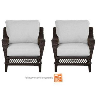 Hampton Bay Woodbury Patio Lounge Chair with Cushion Insert (2 Pack) (Slipcovers Sold Separately) DY9127 L B