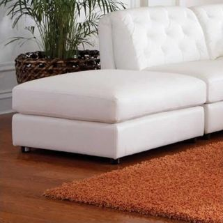Coaster Quinn Contemporary Square Leather Storage Ottoman in White   551023