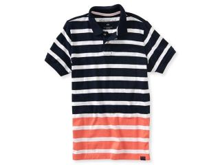 Aeropostale Mens Dual Color Stripe Rugby Polo Shirt 437 S