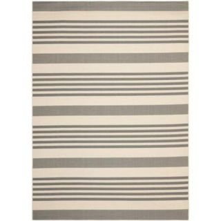 Safavieh Indoor/ Outdoor Courtyard Grey/ Bone Rug (9' x 12')